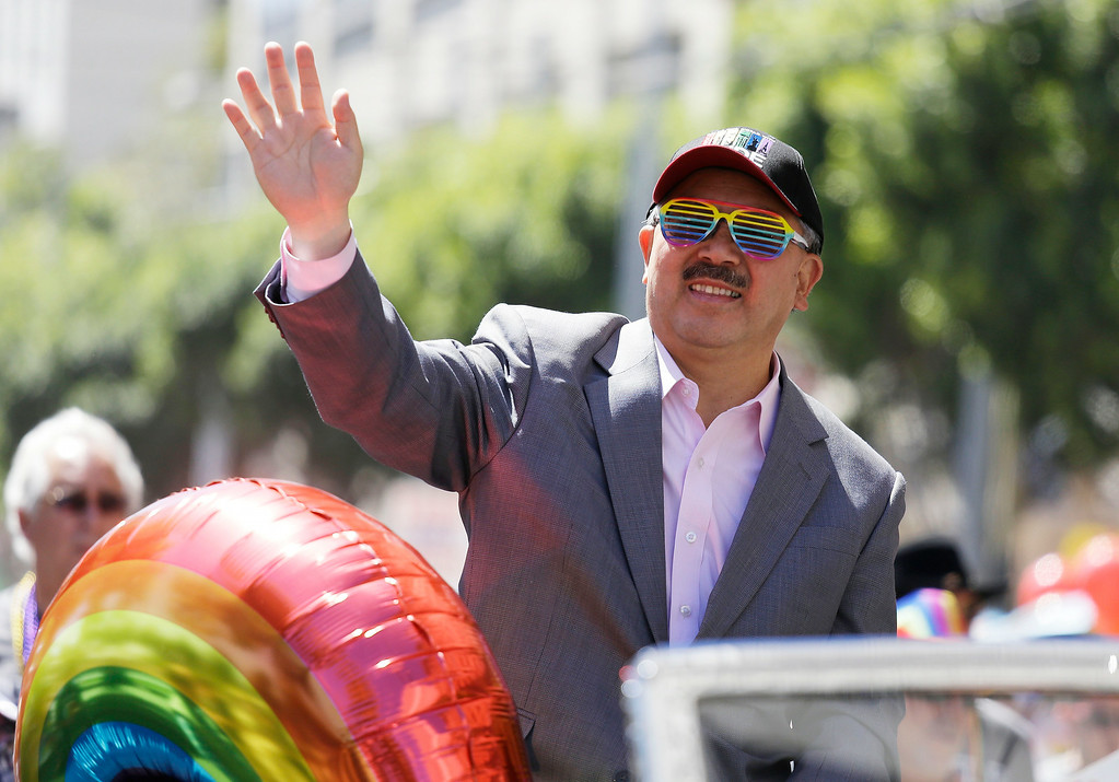 . San Francisco Mayor Ed Lee waves during the 44th annual Gay Pride parade Sunday, June 29, 2014, in San Francisco. The lesbian, gay, bisexual, and transgender celebration and parade is one of the largest LGBT gatherings in the nation. (AP Photo/Eric Risberg)