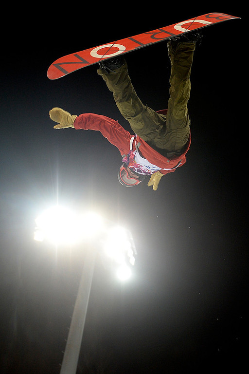 . Switzerland\'s Christian Haller during the men\'s snowboard halfpipe final. Sochi 2014 Winter Olympics on Tuesday, February 11, 2014. (Photo by AAron Ontiveroz/The Denver Post)