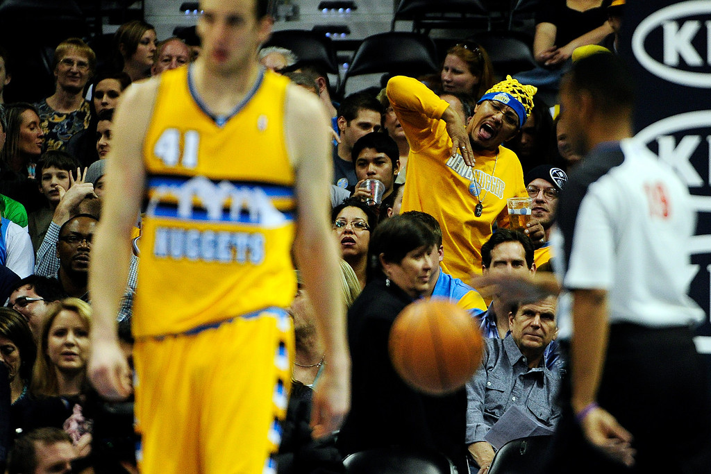 . A Denver Nuggets cheers during the second half of the Nuggets\' 113-110 win at the Pepsi Center on Monday, December 3, 2012. AAron Ontiveroz, The Denver Post