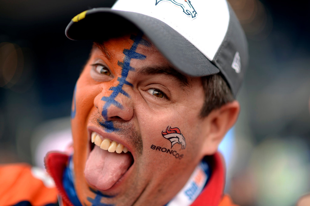 . Daniel Saint from Mexico shows his support for the Broncos prior to the start of the game.  The Denver Broncos vs the Seattle Seahawks in Super Bowl XLVIII at MetLife Stadium in East Rutherford, New Jersey Sunday, February 2, 2014. (Photo by Hyoung Chang//The Denver Post)