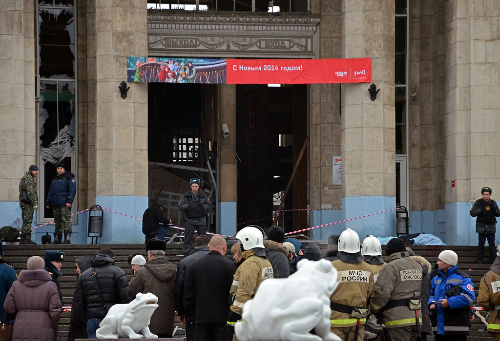 . Russian firefighters and security personnel inspect the damage at a train station following a suicide attack in the Volga River city of Volgograd, about 900 kms (560 miles) southeast of Moscow, on December 29, 2013. At least 18 people were killed and dozens injured when a suicide bomber blew herself up in the train station ahead of February\'s Olympic Games in nearby Sochi.  AFP/Getty Images