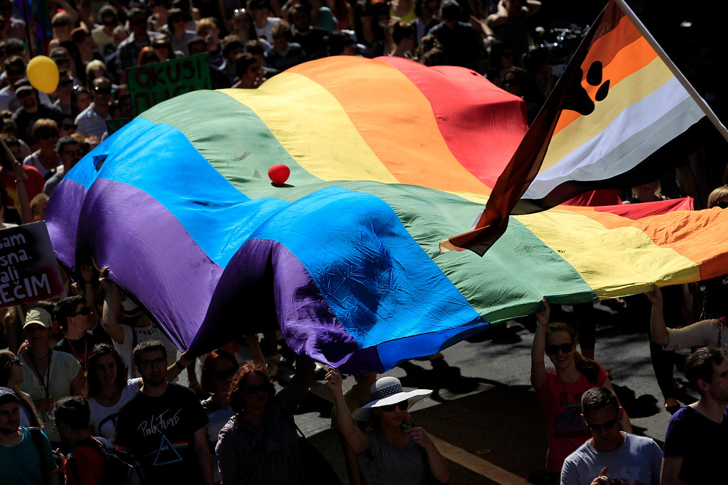 . Participants march with a rainbow flag during a pride parade in Zagreb June 15, 2013. About a 15,000 participants attended Zagreb\'s 12th Gay Pride event, local media said. REUTERS/Antonio Bronic (