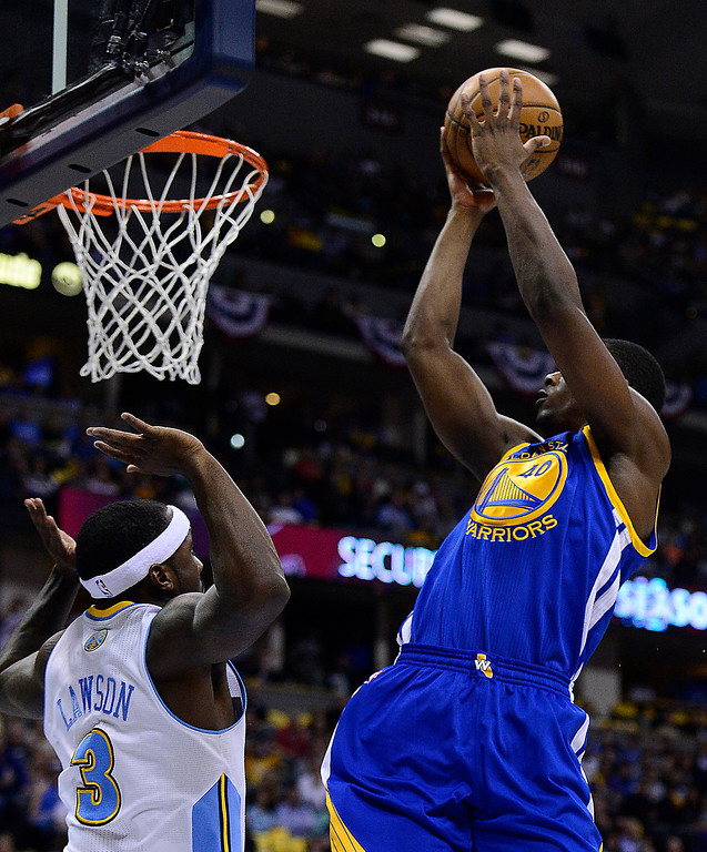 . Golden State Warriors small forward Harrison Barnes (40) puts up a shot in the second quarter. The Denver Nuggets took on the Golden State Warriors in Game 5 of the Western Conference First Round Series at the Pepsi Center in Denver, Colo. on April 30, 2013. (Photo by AAron Ontiveroz/The Denver Post)