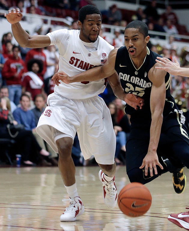 . Colorado\'s Spencer Dinwiddie, right, drives against Stanford\'s Chasson Randle during the first half of an NCAA college basketball game Wednesday, Feb. 27, 2013, in Stanford, Calif. (AP Photo/Ben Margot)