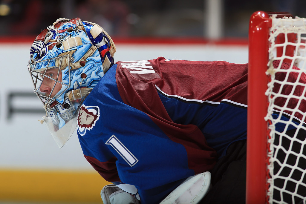 . DENVER, CO - NOVEMBER 16:  Goalie Semyon Varlamov #1 of the Colorado Avalanche looks on from the goal against the Florida Panthers at Pepsi Center on November 16, 2013 in Denver, Colorado. The Panthers defeated the Avalanche 4-1.  (Photo by Doug Pensinger/Getty Images)