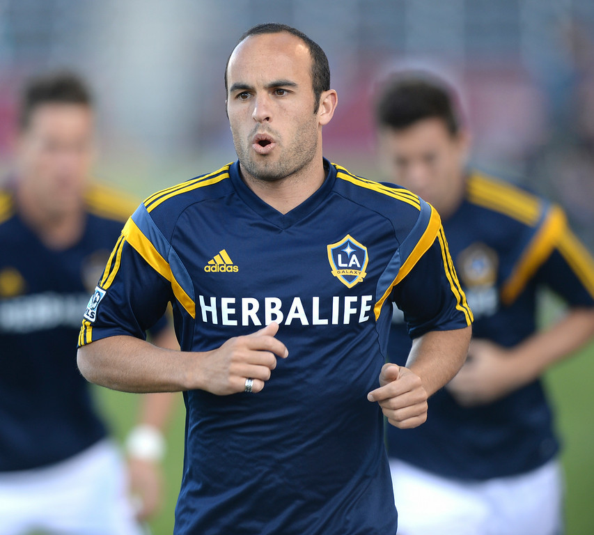 . Galaxy midfielder Landon Donovan warmed up before the game Saturday night. The Colorado Rapids hosted the Los Angeles Galaxy Saturday night, May 3, 2014 at Dick\'s Sporting Good Park. (Photo by Karl Gehring/The Denver Post)