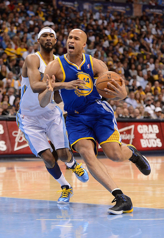 . Golden State Warriors small forward Richard Jefferson (44) drives to the basket around Denver Nuggets small forward Corey Brewer (13). The Denver Nuggets took on the Golden State Warriors in Game 5 of the Western Conference First Round Series at the Pepsi Center in Denver, Colo. on April 30, 2013. (Photo by John Leyba/The Denver Post)