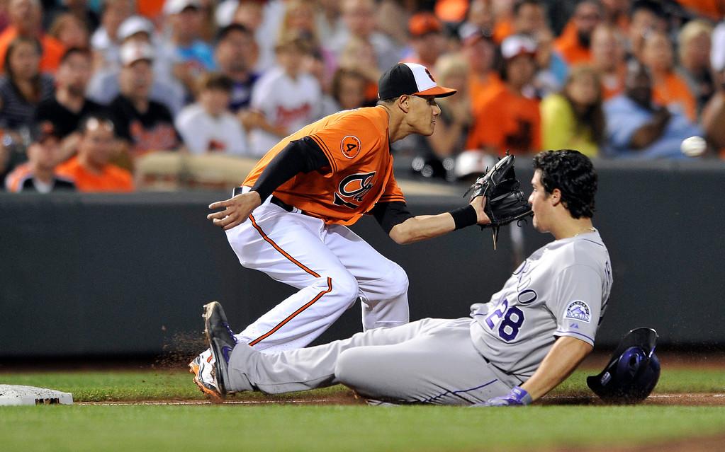 . Colorado Rockies\' Nolan Arenado (28) slides into third base as Baltimore Orioles third baseman Manny Machado covers in the sixth inning of a baseball game on Saturday, Aug. 17, 2013, in Baltimore. Arenado was safe and earned a triple. (AP Photo/Gail Burton)