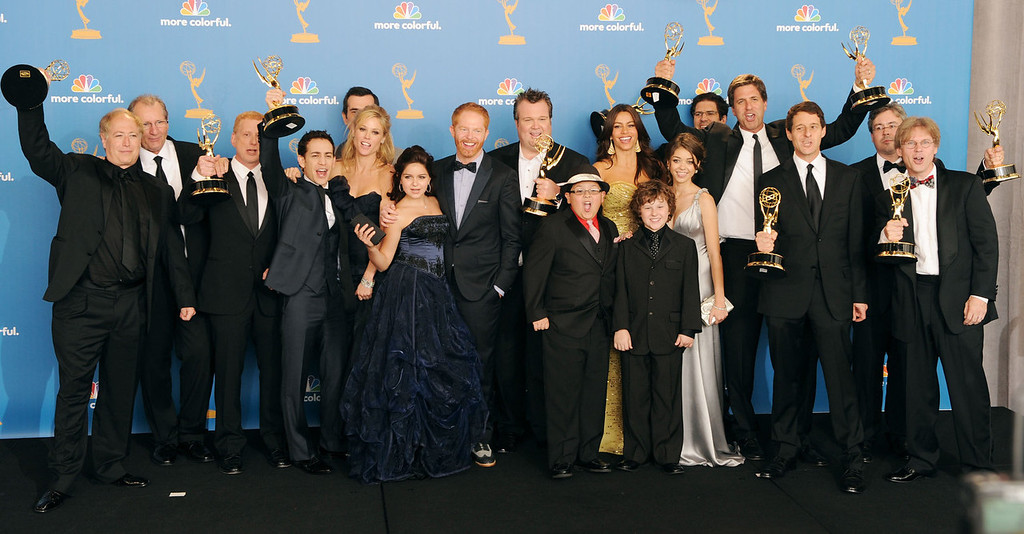 ". Cast and crew of ""Modern Family\"", winners of the Outstanding Comedy Series Award pose in the press room at the 62nd Annual Primetime Emmy Awards held at the JW Marriott Los Angeles at L.A. Live on August 29, 2010 in Los Angeles, California.  (Photo by Jason Merritt/Getty Images)"