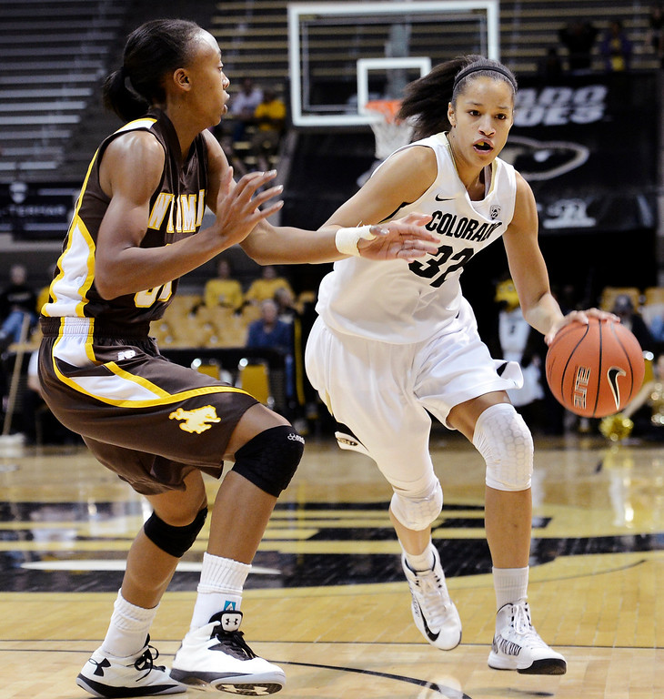 . Colorado\'s Arielle Roberson, right, drives past Wyoming\'s Chaudra Sewell during their NCAA college basketball game, Wednesday, Nov. 28, 2012, in Boulder, Colo. (AP Photo/The Daily Camera, Jeremy Papasso)