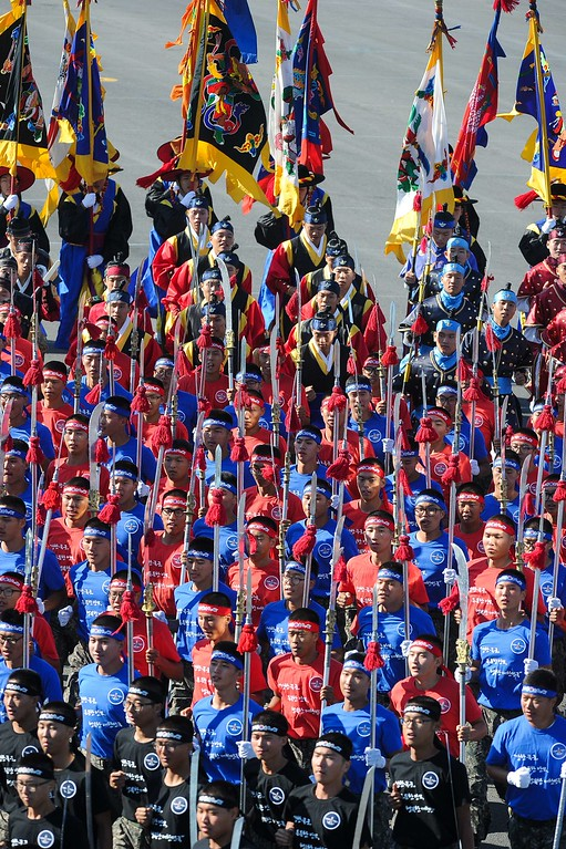 . South Korean army troops march at Seoul Air Base during the 65th anniversary of the Republic of Korea armed Forces day on September 27, 2013.   AFP PHOTO / KIM DOO-HO/AFP/Getty Images