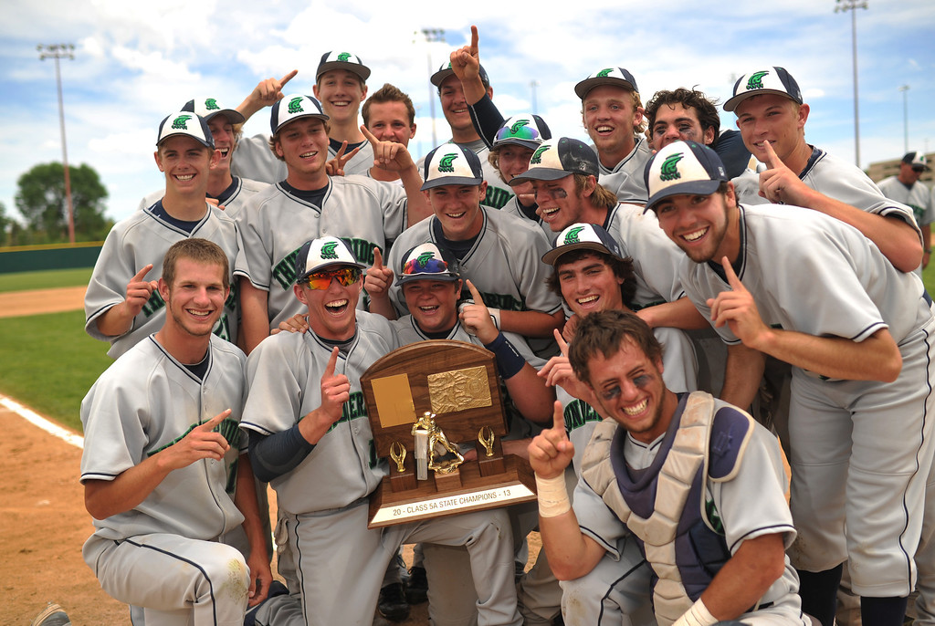 . DENVER, CO. - MAY 25: ThunderRidge HIgh School baseball team celebrate winning of 5A baseball state championship game against Rocky Mountain HIgh School at All City Field. Denver, Colorado. May 25, 2013. ThunderRidge won 2-1. (Photo By Hyoung Chang/The Denver Post)