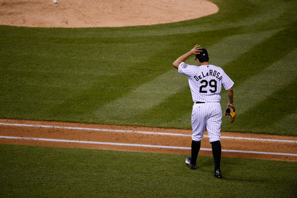 . DENVER, CO - JUNE 24: Colorado Rockies starting pitcher Jorge De La Rosa (29) comes out for the 7th inning against the St. Louis Cardinals June 24, 2014 at Coors Field. (Photo by John Leyba/The Denver Post)