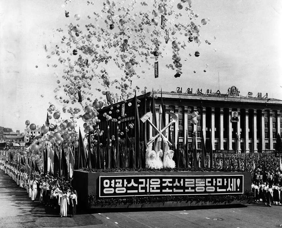 . In this September 19, 1961 photo from North Korea\'s official Korean Central News Agency, distributed by Korea News Service, 300,000 Pyongyang citizens parade celebrating the 4th Worker\'s Party of Korea rally done in the Kim Il Sung Square in Pyongyang, North Korea. (Korean Central News Agency/Korea News Service via AP Images)