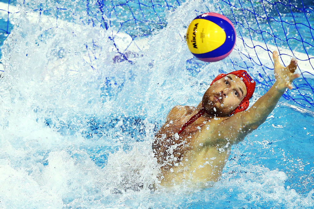 . BARCELONA, SPAIN - AUGUST 03:  Viktor Nagy of Hungary in action during the Men\'s Water Polo Men\'s Gold Medal Match between Hungary and Montenegro on day fifteen of the 15th FINA World Championships at Piscines Bernat Picornell on August 3, 2013 in Barcelona, Spain.  (Photo by Al Bello/Getty Images)