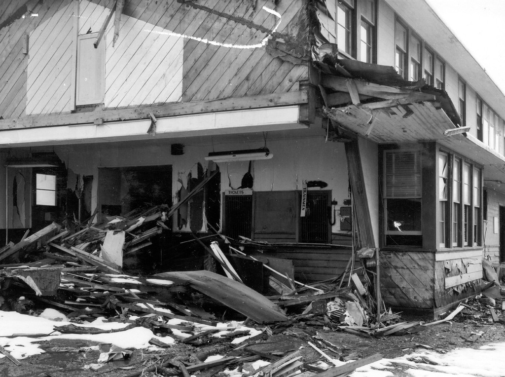 . Alaska Earthquake March 27, 1964. The Alaska Railroad depot in Whittier. Wave destroyed the waiting room of the depot. Photo by R. Kachadoorian, U.S. Geological Survey