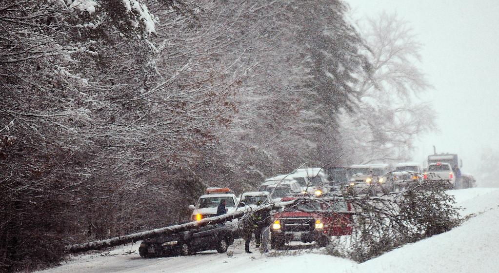 . A tree lies across westbound Route 3 in the Chancellorsville Battlefield  area of Spotsylvania, Va., Wednesday March 6, 2013, as a major winter storm swept through the region.  Gov. Bob McDonnell declared a state of emergency Wednesday as up to 20 inches of snow piled up in parts of central and western Virginia. (AP Photo/The Free Lance-Star,Dave Ellis )