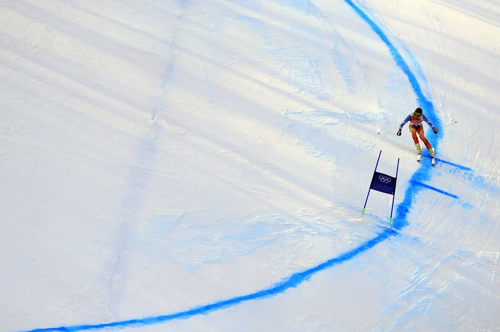 . Norway\'s Kjetil Jansrud competes during the Men\'s Alpine Skiing Super-G at the Rosa Khutor Alpine Center during the Sochi Winter Olympics on February 16, 2014.  ALEXANDER KLEIN/AFP/Getty Images