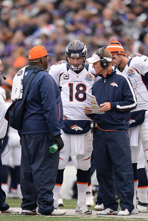 . Denver Broncos quarterback Peyton Manning (18) talks with Broncos offensive coordinator Mike McCoy during a timeout against the Baltimore Ravens Sunday, December 16, 2012 at M&T Bank Stadium. John Leyba, The Denver Post