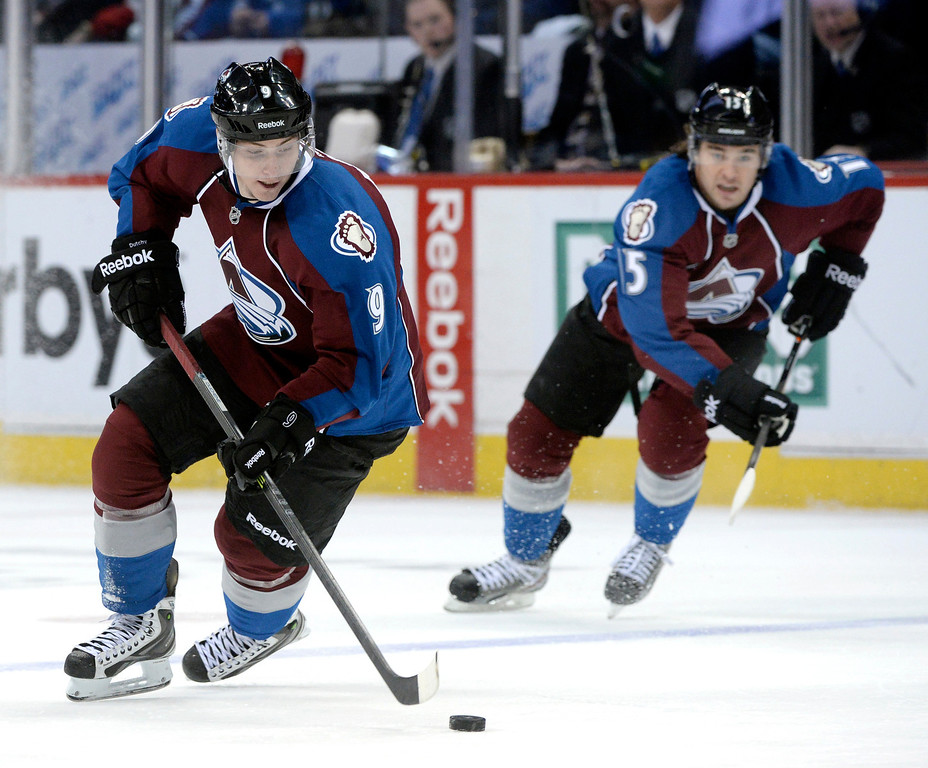 . DENVER, CO. - DECEMBER 19: Colorado center Matt Duchene (9) and wing PA Parenteau (15) went on the attack in the third period. The Colorado Avalanche defeated the Edmonton Oilers 4-2 Thursday night, December 19, 2013.  Photo By Karl Gehring/The Denver Post