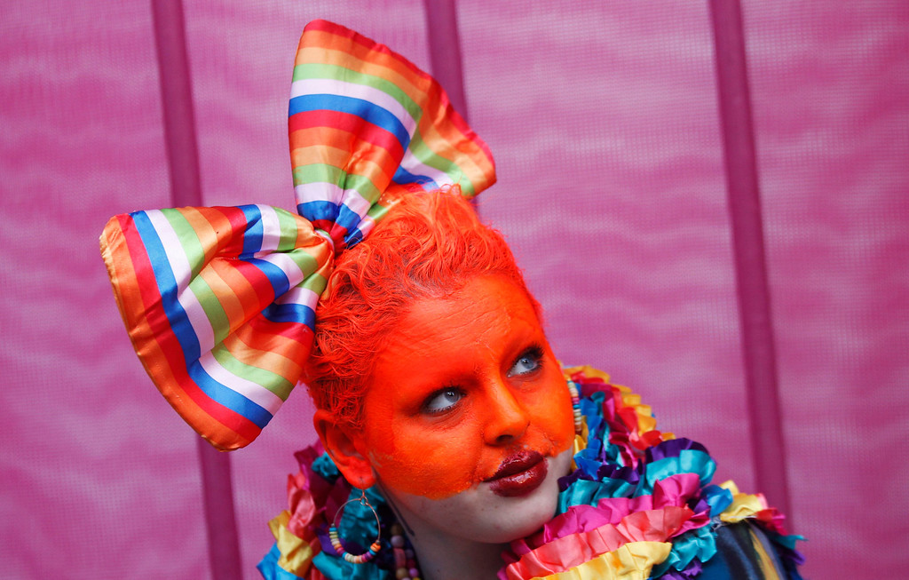 . A participant prepares to march in the 35th annual Sydney Gay and Lesbian Mardi Gras parade March 2, 2013. REUTERS/Daniel Munoz