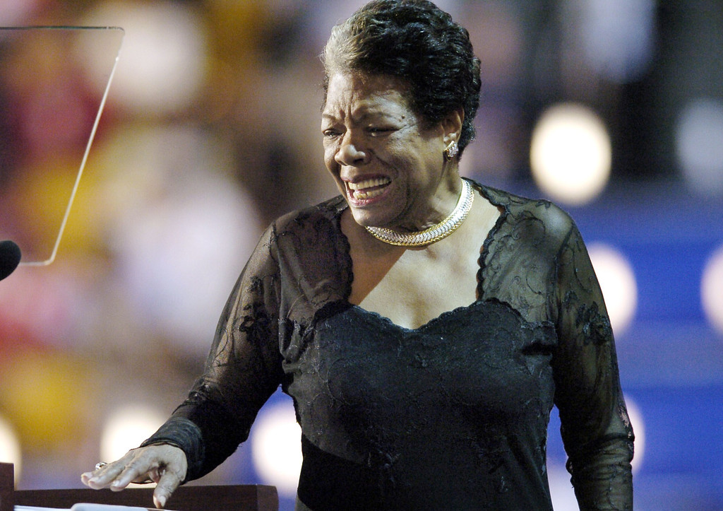 . In this July 27, 2004 file photo, Poet and activist Dr. Maya Angelou addresses the Democratic National Convention in Boston, Massachusetts.Award-winning author, renowned poet and civil rights activist Dr. Maya Angelou has died. She was 86. AFP PHOTO / Hector MATA /AFP/Getty Images