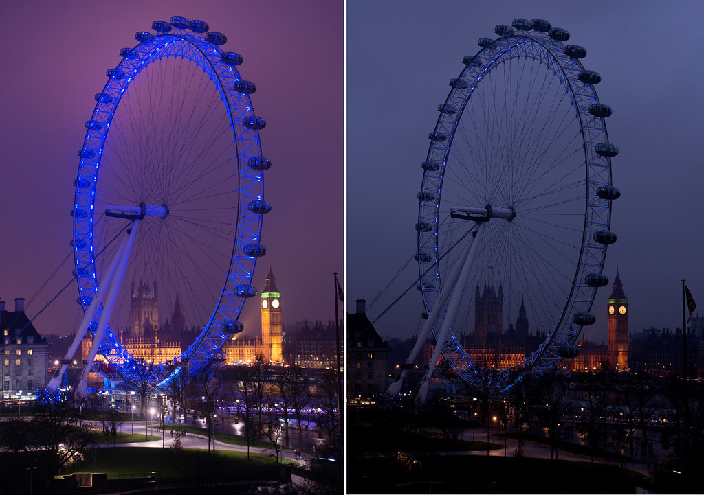 . Combination photos. The \'London Eye\' and London skyline can be seen before (left) and after (right) the population of the city observed Earth Hour on Saturday, March 23, 2013. Earth Hour Global is a worldwide event organized by the World Wide Fund for Nature (WWF) encouraging households and businesses to turn off their non-essential lights for one hour to raise awareness about the need to take action on climate change. The event is designed to highlight the impact climate change is having on people and nature. Millions of people in more than 150 countries are expected to take part. Earth Hour 2013 is being held on March 23, 2013 from 8:30 p.m. to 9:30 p.m. during participants\' local time. (Richard Stonehouse for WWF/Earth Hour Globa via AP Images)
