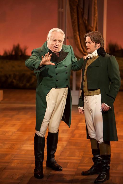 ". Ed Dixon as Sir John and Robert Petkoff as Colonel Brandon in \""Sense & Sensibility The Musical.\""   Photo by Jennifer M. Koskinen"