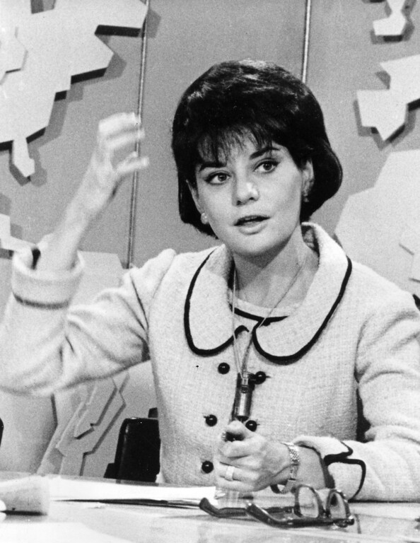 . TV journalist Barbara Walters, a member of NBC\'s Today Show, gestures during an appearance at the morning show in New York City, May, 20, 1965. (AP Photo)