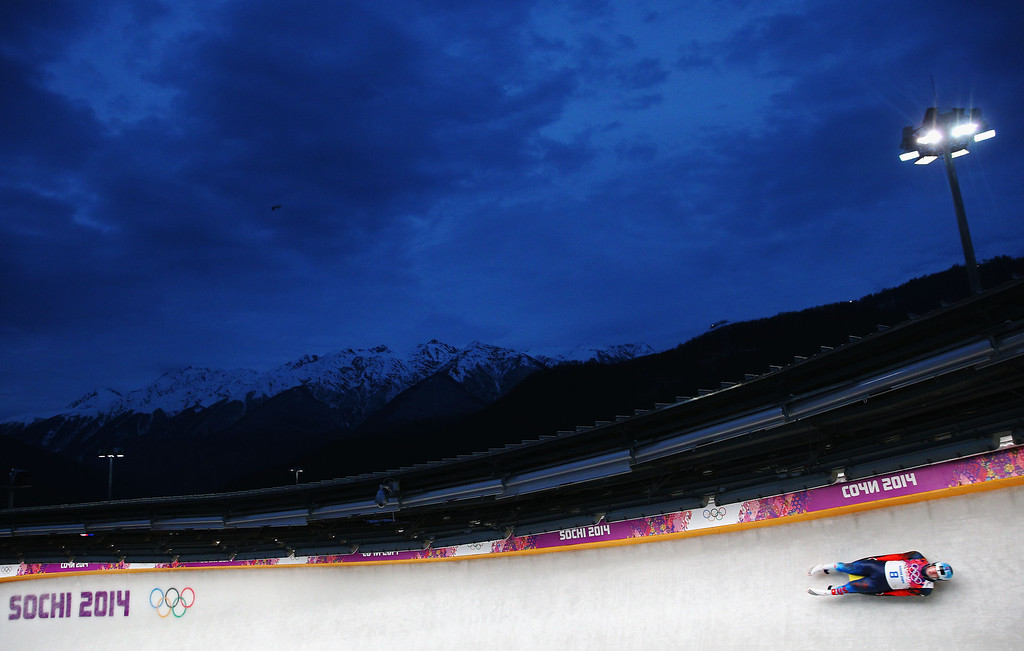 . Semen Pavlichenko of Russia competes during the Men\'s Luge Singles on Day 2 of the Sochi 2014 Winter Olympics at Sliding Center Sanki on February 9, 2014 in Sochi, Russia.  (Photo by Paul Gilham/Getty Images)