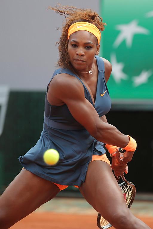 . Serena Williams of the U.S. returns against Russia\'s Maria Sharapova in the women\'s final of the French Open tennis tournament, at Roland Garros stadium in Paris, Saturday June 8, 2013. (AP Photo/Michel Euler)