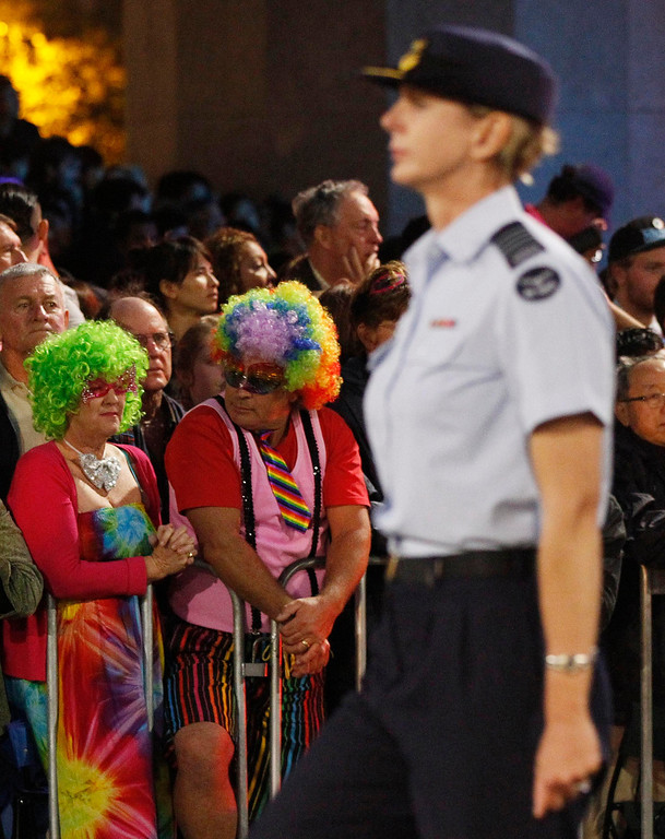 """. A member (front) of the group \""""Australian Defence Force - Serving with Pride\"""" participates in the 35th annual Sydney Gay and Lesbian Mardi Gras parade March 2, 2013. REUTERS/Daniel Munoz"""