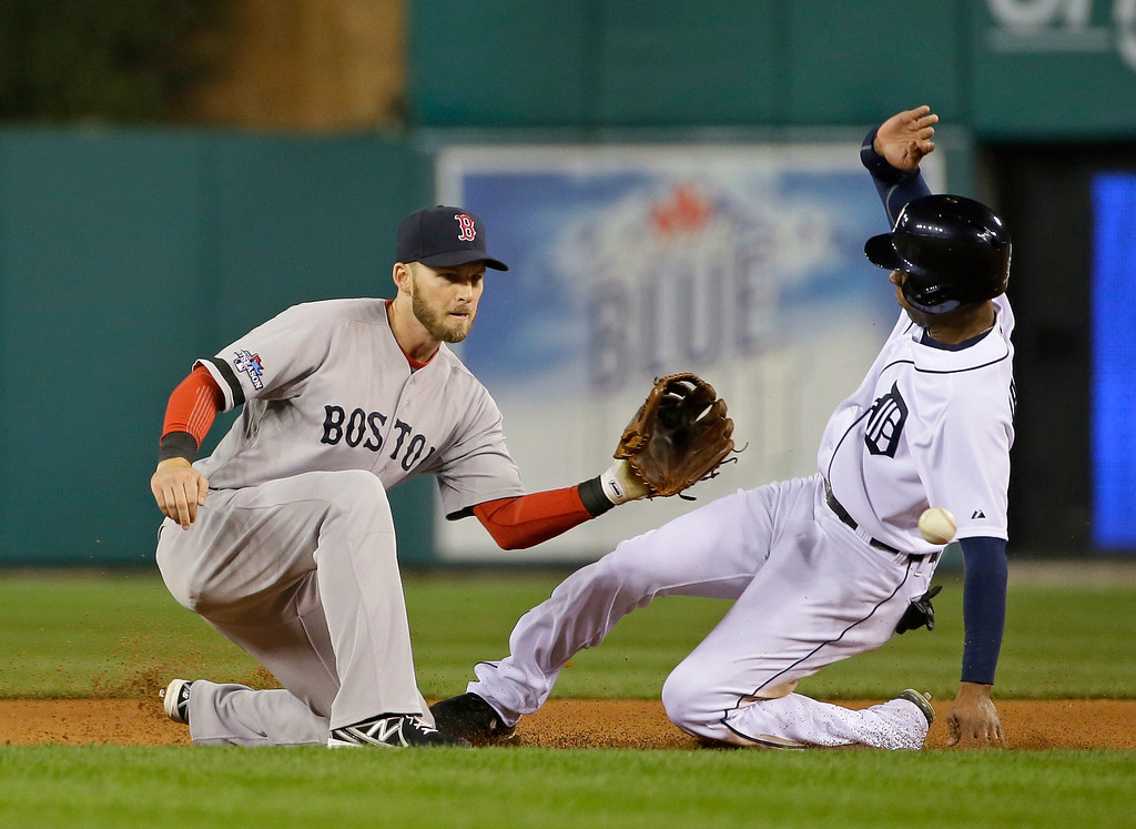 . Detroit Tigers\' Austin Jackson steals second in the fourth inning as Boston Red Sox\'s Stephen Drew takes the throw during Game 4 of the American League baseball championship series Wednesday, Oct. 16, 2013, in Detroit. (AP Photo/Matt Slocum)