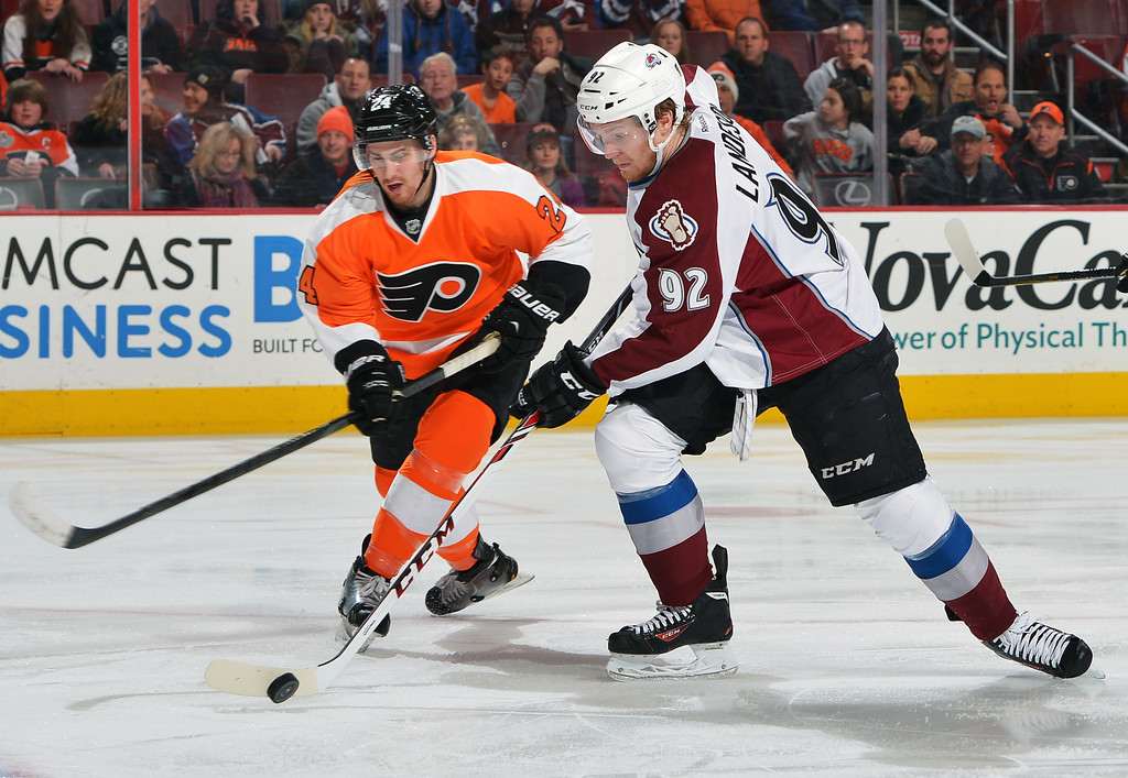 . PHILADELPHIA, PA - FEBRUARY 06: Gabriel Landeskog #92 of the Colorado Avalanche tries to get a shot off next to Matt Read #24 of the Philadelphia Flyers at the Wells Fargo Center on February 6, 2014 in Philadelphia, Pennsylvania.  (Photo by Drew Hallowell/Getty Images)