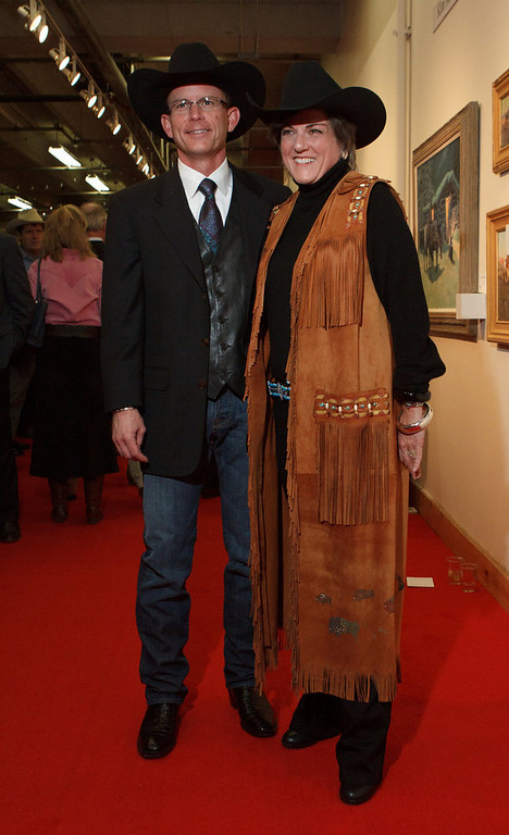 . A couple from Houston, David and Brigid Murrell.  The 2013 Coors Western Art Exhibit and Sale Red Carpet Reception at the National Western Stock Show Complex in Denver, Colorado, on Tuesday, Jan. 8, 2013. Photo Steve Peterson