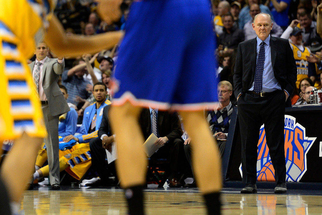 . DENVER, CO - MARCH 13: George Karl of the Denver Nuggets watches the action against the New York Knicks during the first half of action. The Denver Nuggets play the New York Knicks at the Pepsi Center. (Photo by AAron Ontiveroz/The Denver Post)