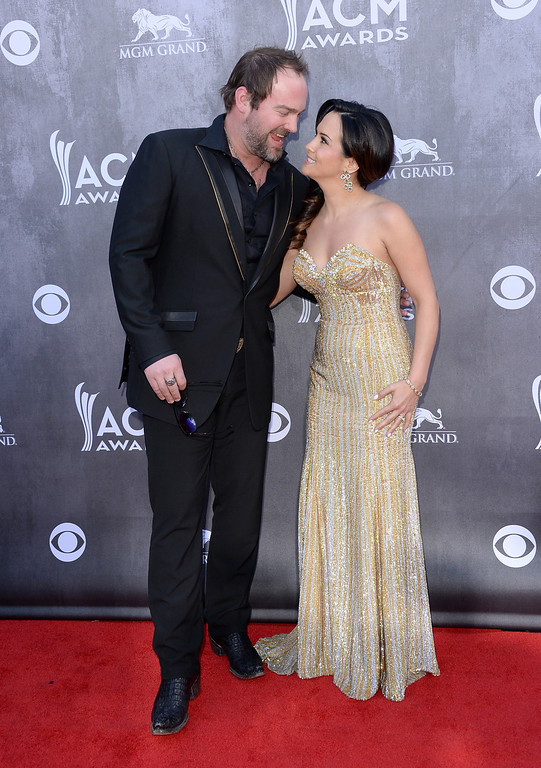 . Singer Lee Brice (L) and Sara Brice attend the 49th Annual Academy Of Country Music Awards at the MGM Grand Garden Arena on April 6, 2014 in Las Vegas, Nevada.  (Photo by Jason Merritt/Getty Images)