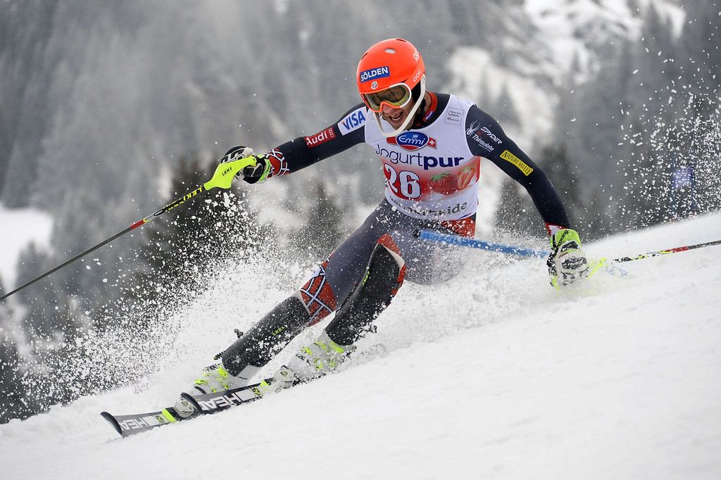 . Bode Miller of the USA competes during the FIS Men\'s alpine skiing World Cup Slalom finals,  on March 16, 2014,  in Lenzerheide. AFP PHOTO / FABRICE COFFRINI
