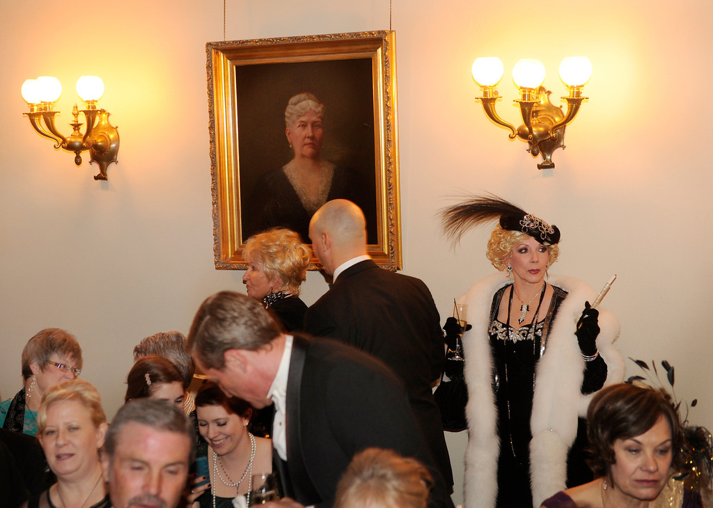 . DENVER, CO. - JANUARY 04: The Rocky Mountain PBS Masterpiece Costume Ball attracted more than 200 fans of the Downton Abbey television drama Saturday night, January 4, 2014 at the Grant Humphreys Mansion for a sneak preview of the upcoming season\'s show which starts Sunday night. The event also included a silent auction, historical displays, and a costume contest. Photo By Karl Gehring/The Denver Post
