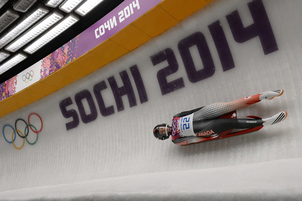 . Canada\'s Arianne Jones competes during the Women\'s Luge Singles run two at the Sliding Center Sanki during the Sochi Winter Olympics on February 10, 2014.   AFP PHOTO / LIONEL BONAVENTURE/AFP/Getty Images