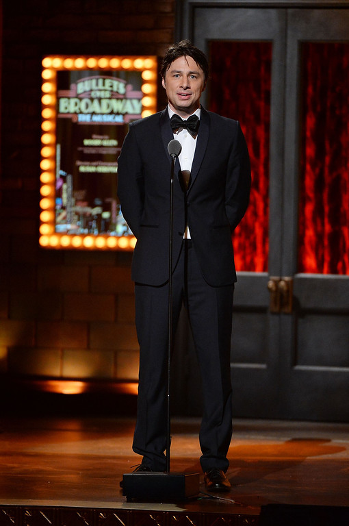 . Actor Zach Braff speaks onstage during the 68th Annual Tony Awards at Radio City Music Hall on June 8, 2014 in New York City.  (Photo by Theo Wargo/Getty Images for Tony Awards Productions)