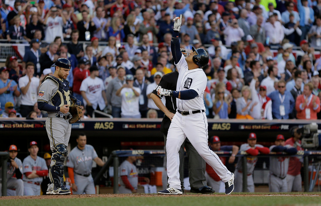 . Miguel Cabrera, of the Detroit Tigers, celebrates after hitting a home run during the first inning of the MLB All-Star baseball game, Tuesday, July 15, 2014, in Minneapolis. (AP Photo/Jeff Roberson)