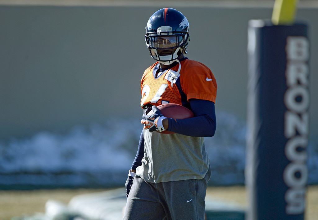 . Denver Broncos cornerback Champ Bailey (24) looks on during drills at practice November 27, 2013 at Dove Valley (Photo by John Leyba/The Denver Post)