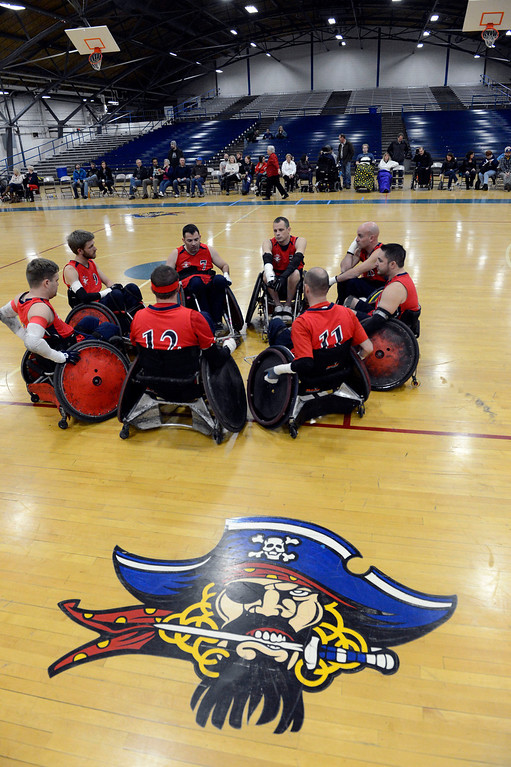 . DENVER, CO. - FEBRUARY 10: The Denver Harlequins take to the court during the Wheelchair Rugby Tournament February 10, 2013 at Englewood High School. The Mile High Mayhem was put on by Craig Hospital and city of Englewood.(Photo By John Leyba/The Denver Post)