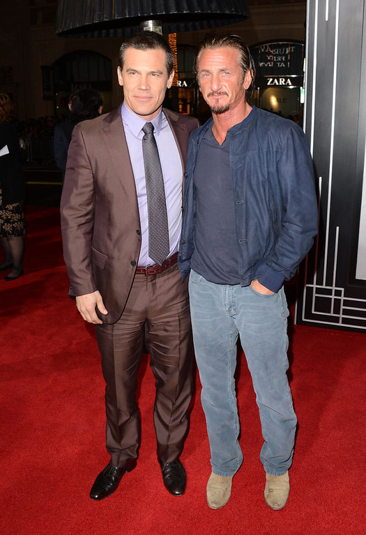""". Actors Josh Brolin and Sean Penn arrive at Warner Bros. Pictures\' \""""Gangster Squad\"""" premiere at Grauman\'s Chinese Theatre on January 7, 2013 in Hollywood, California.  (Photo by Jason Merritt/Getty Images)"""