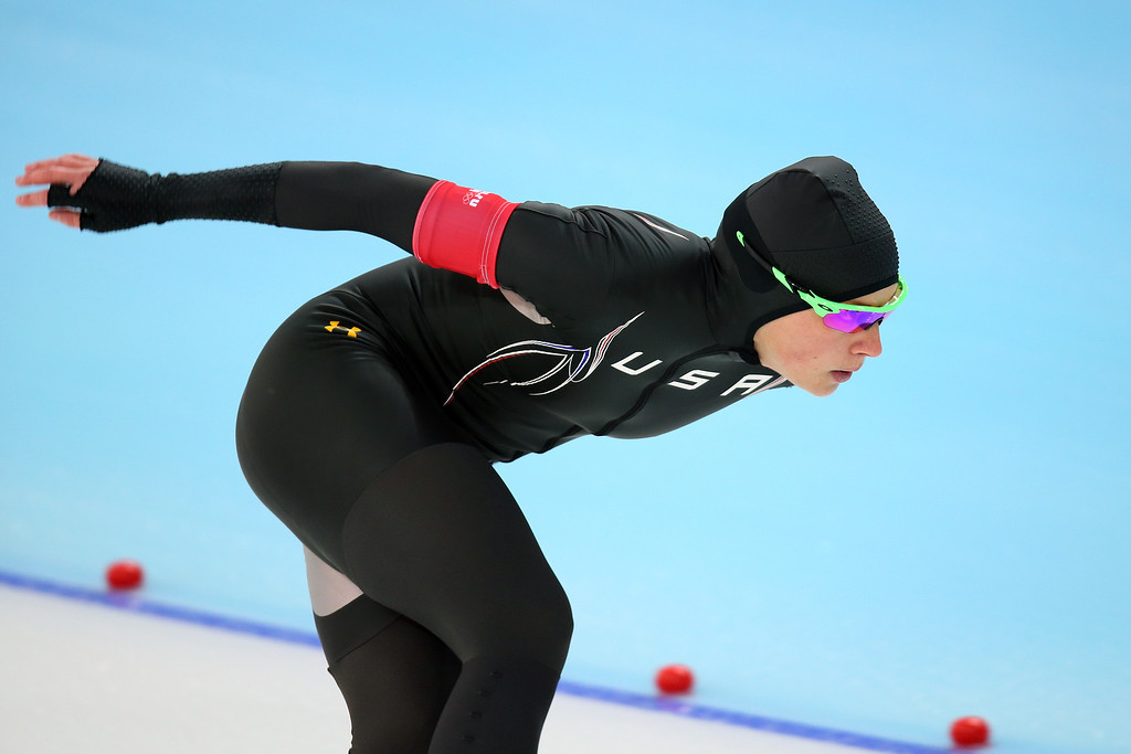 . Sugar Todd of the United States competes during the Women\'s 1000m Speed Skating event on day 6 of the Sochi 2014 Winter Olympics at Adler Arena Skating Center on February 13, 2014 in Sochi, Russia.  (Photo by Quinn Rooney/Getty Images)
