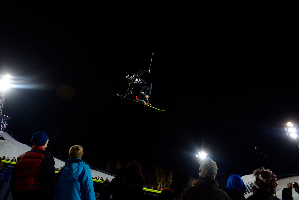 . ASPEN, CO. - JANUARY 24: Joffrey Pollet-Villard grabs air during the men\'s ski superpipe final. X Games Aspen Buettermilk Mountain Aspen January 25, 2013 (Photo By AAron Ontiveroz / The Denver Post)