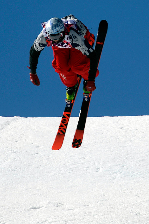. U.S.A. skier Nick Goepper rotates on a flip during the men\'s ski slopestyle final at the Rosa Khutor Extreme Park. Sochi 2014 Winter Olympics on Thursday, February 13, 2014. (Photo by AAron Ontiveroz/The Denver Post)