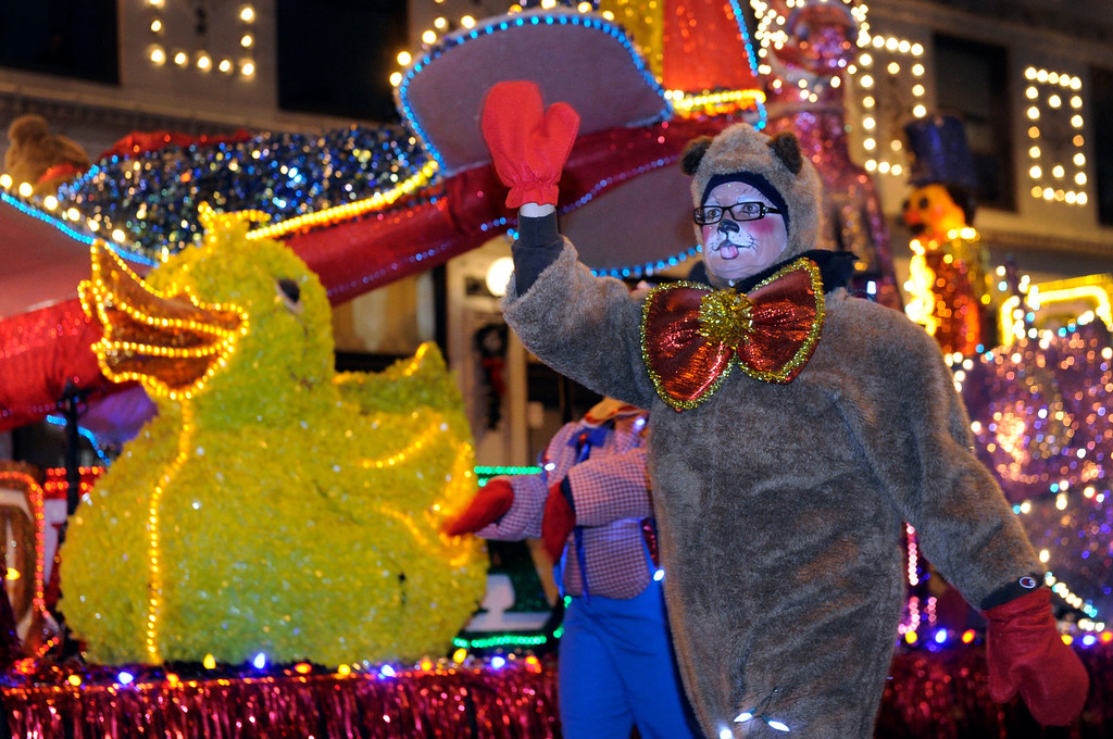 . DENVER, CO. - DECEMBER 06: A rubber duck and a stuffed bear were illuminated as the 9News Parade of Lights kicked off Friday night, December 6, 2013. The weather was clear but temperatures dipped below zero. Photo By Karl Gehring/The Denver Post