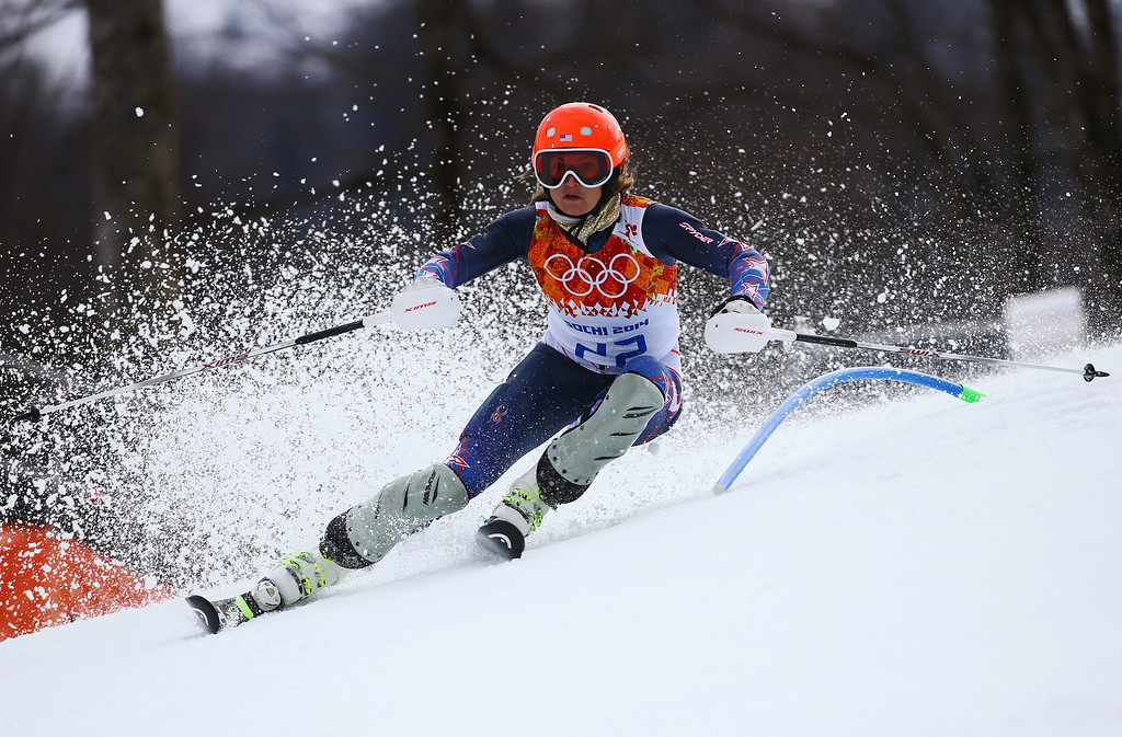 . Julia Mancuso of the United States in action during the Alpine Skiing Women\'s Super Combined Slalom on day 3 of the Sochi 2014 Winter Olympics at Rosa Khutor Alpine Center on February 10, 2014 in Sochi, Russia.  (Photo by Doug Pensinger/Getty Images)